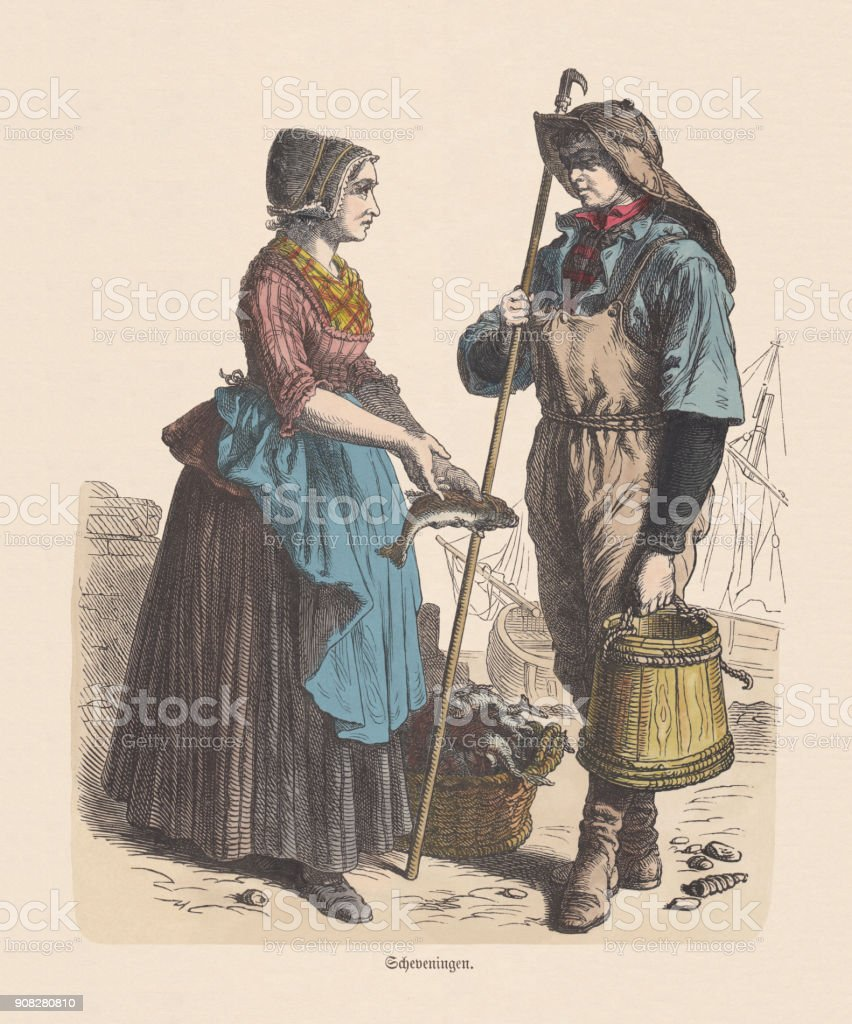 Dutch costume (Scheveningen), 19th century, hand-colored wood engraving, published c.1880 vector art illustration