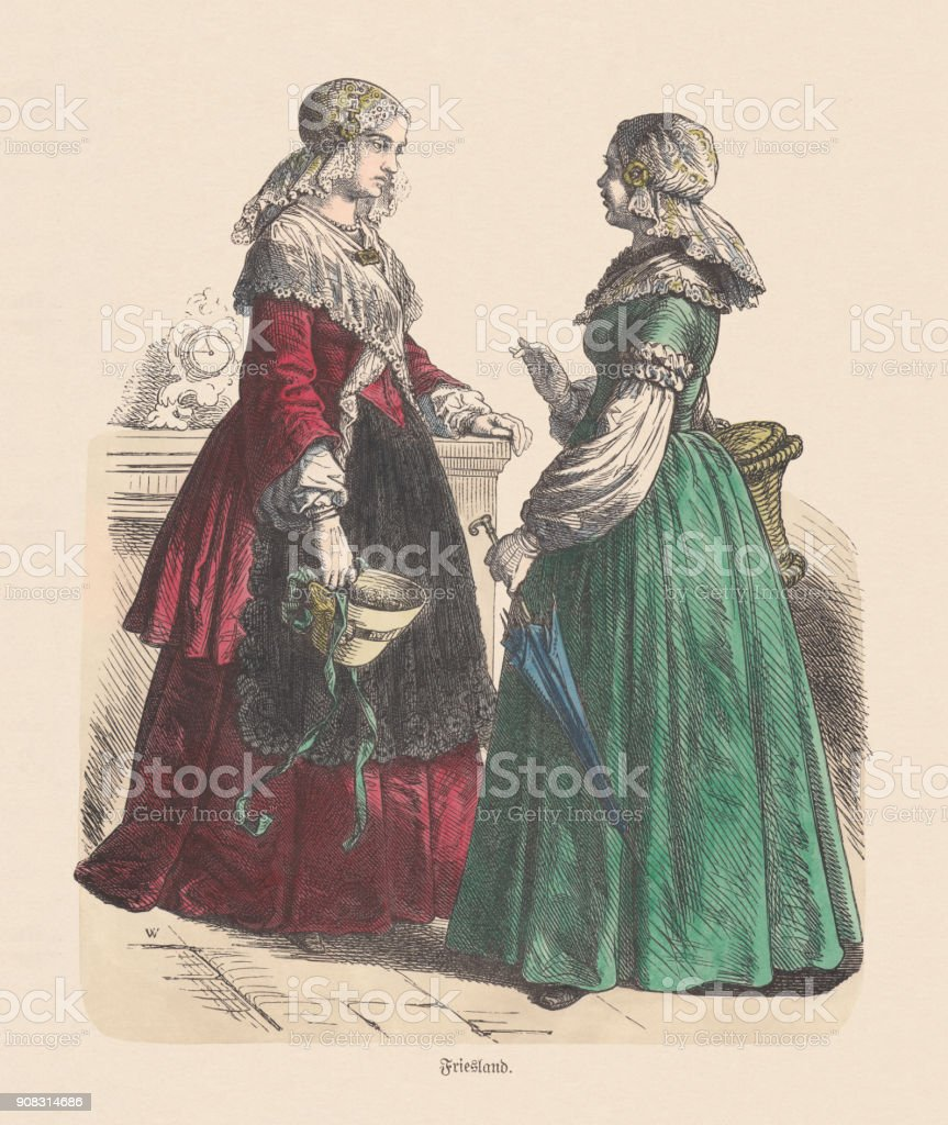 Dutch costume (Friesland), 19th century, hand-colored wood engraving, published c.1880 vector art illustration