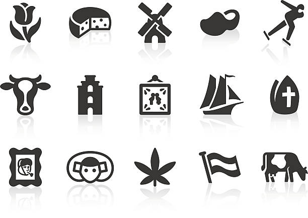 "Dutch Culture icons ""Monochromatic Dutch culture related vector icons for your design or application. Raw style. Files included: vector EPS, JPG, PNG."" nederland stock illustrations"