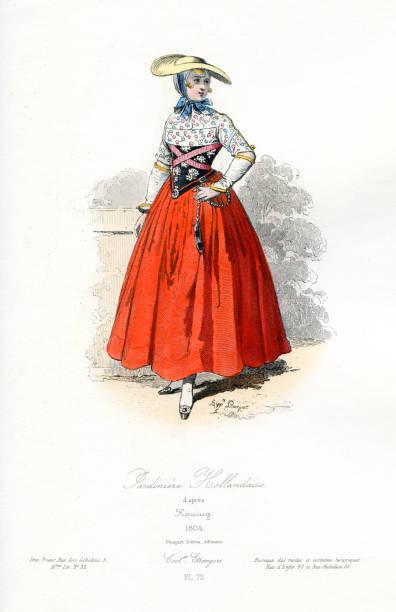 dutch female gardener traditional costume - dutch traditional clothing stock illustrations, clip art, cartoons, & icons