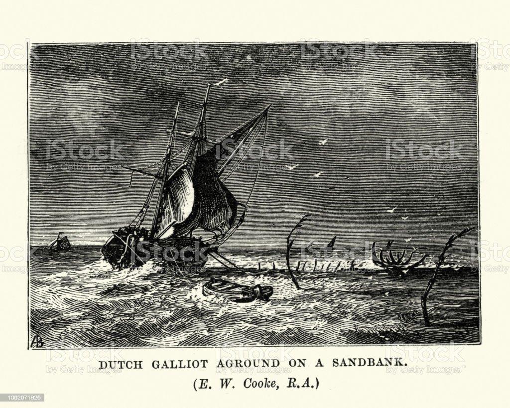 Dutch Galiot ship run aground on a sandbank vector art illustration