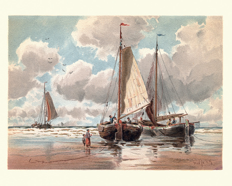 Dutch Pinks boats at Low Tide, 19th Century