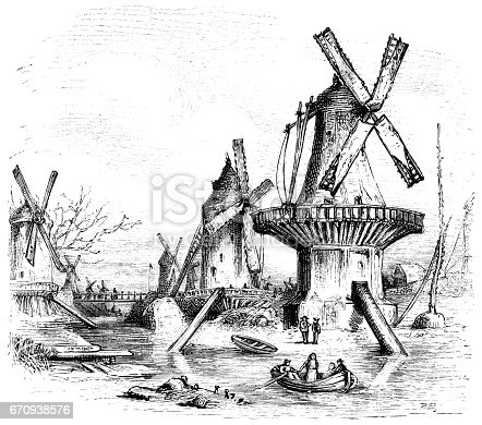 "Various types of windmills (or more correctly, wind pumps) used for drainage beside a canal in the Netherlands. From ""The Cottager and Artisan"" for 1885. Published by The Religious Tract Society, London, 1884-85."