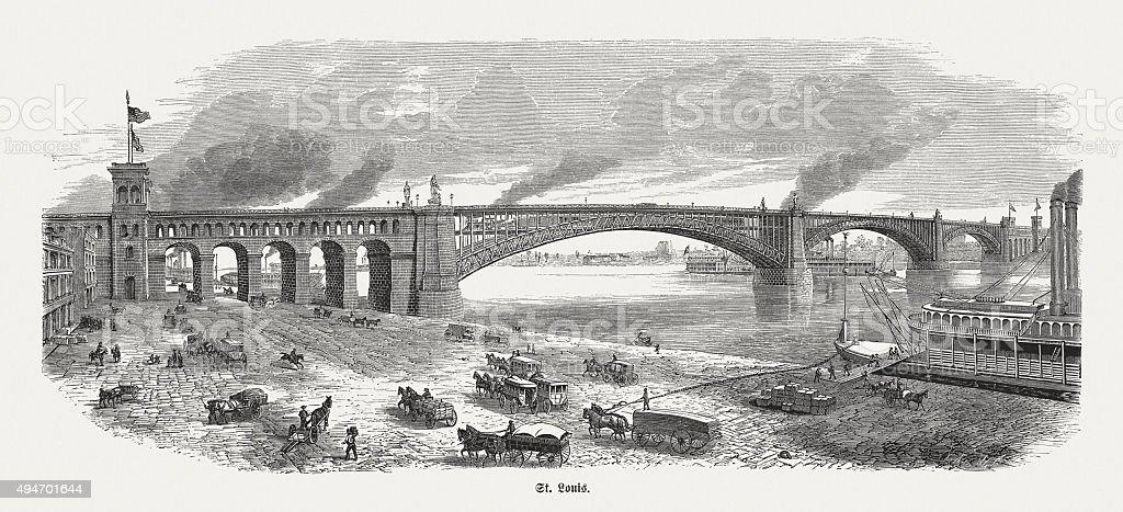 Eads Bridge in St. Louis, published in 1874 vector art illustration