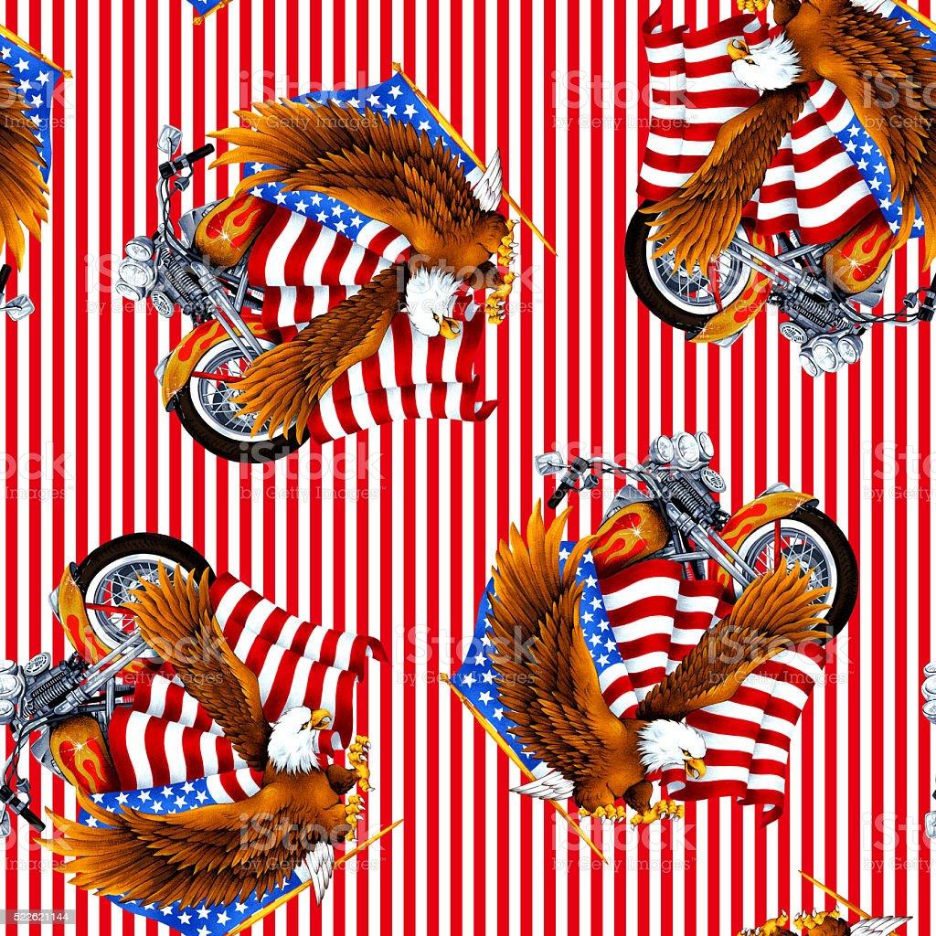 Eagle and flag pattern vector art illustration