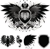 Eagle on a shield. Coat of arms. All elements and textures of the illustrations are individual objects