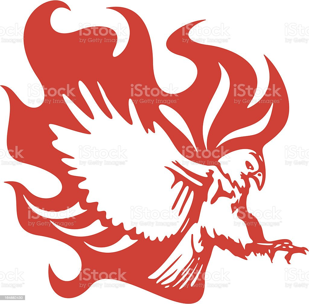 Eagle in Flames Vehicle Graphic (Vector) royalty-free stock vector art