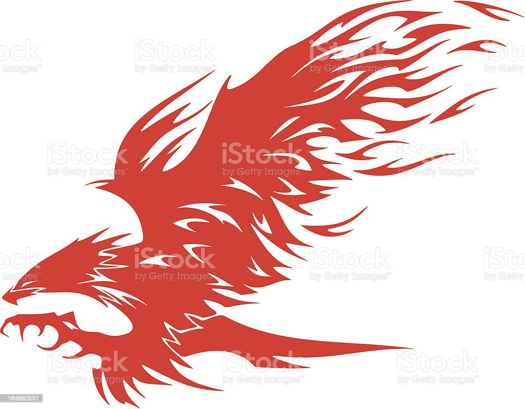 Eagle in Flames Vehicle Graphic (Vector) royalty-free eagle in flames vehicle graphic stock vector art & more images of aggression
