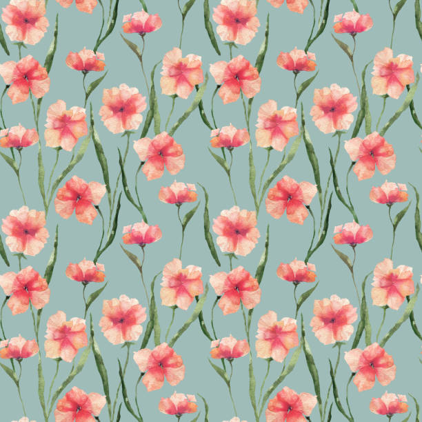 eamless pattern with watercolor flowers. Orange flowers on a colored background. vector art illustration
