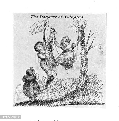 istock Early 1800's engraving children playing with swing in garden taken from Forgotten children's Books 1898 1205355268