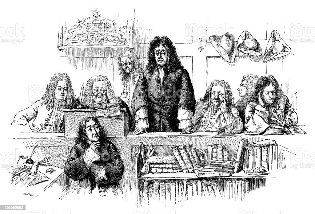 Early 18th century courtroom scene vector art illustration