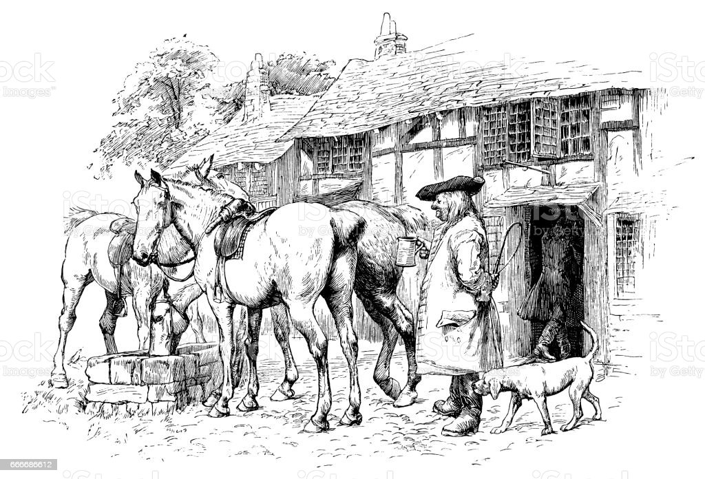 Early 18th century man outside an inn vector art illustration