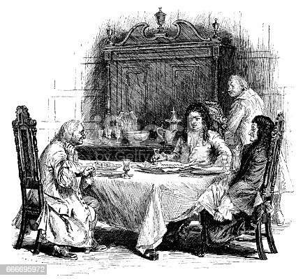 A group of early 18th century men of different social classes sitting around a table, apparently discussing a fish - possibly a sturgeon - which is on the menu.