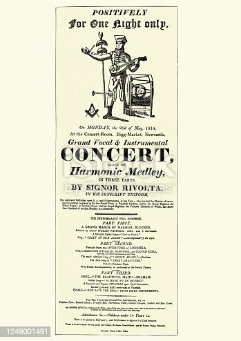 Vintage illustration of Early 19th Century playbill for a one man band, Harmonic Medley by Signor Rivolta