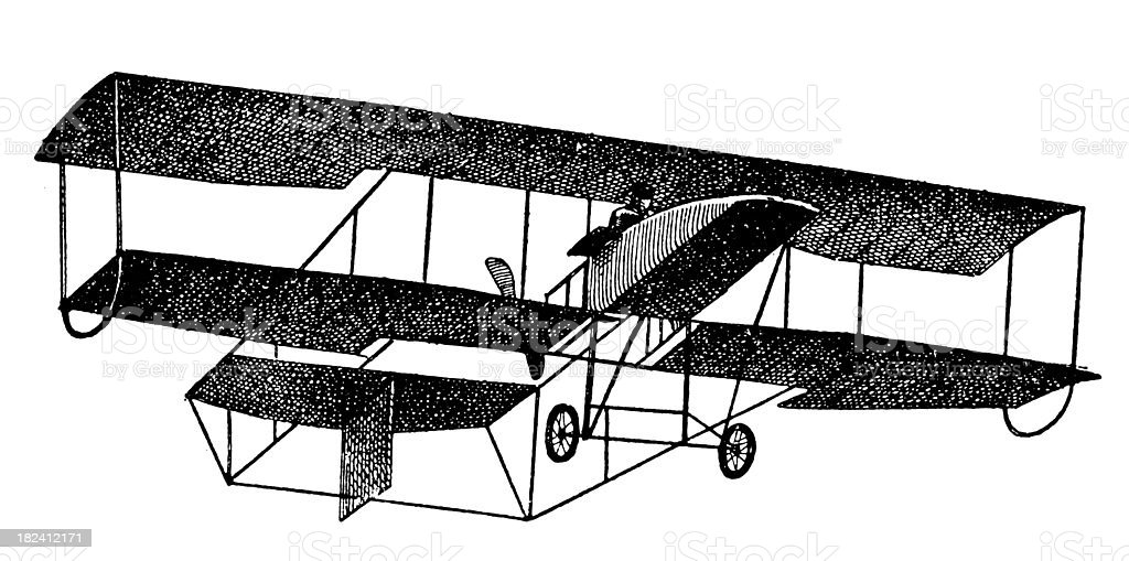 Early Airplane | Antique Scientific Illustrations vector art illustration