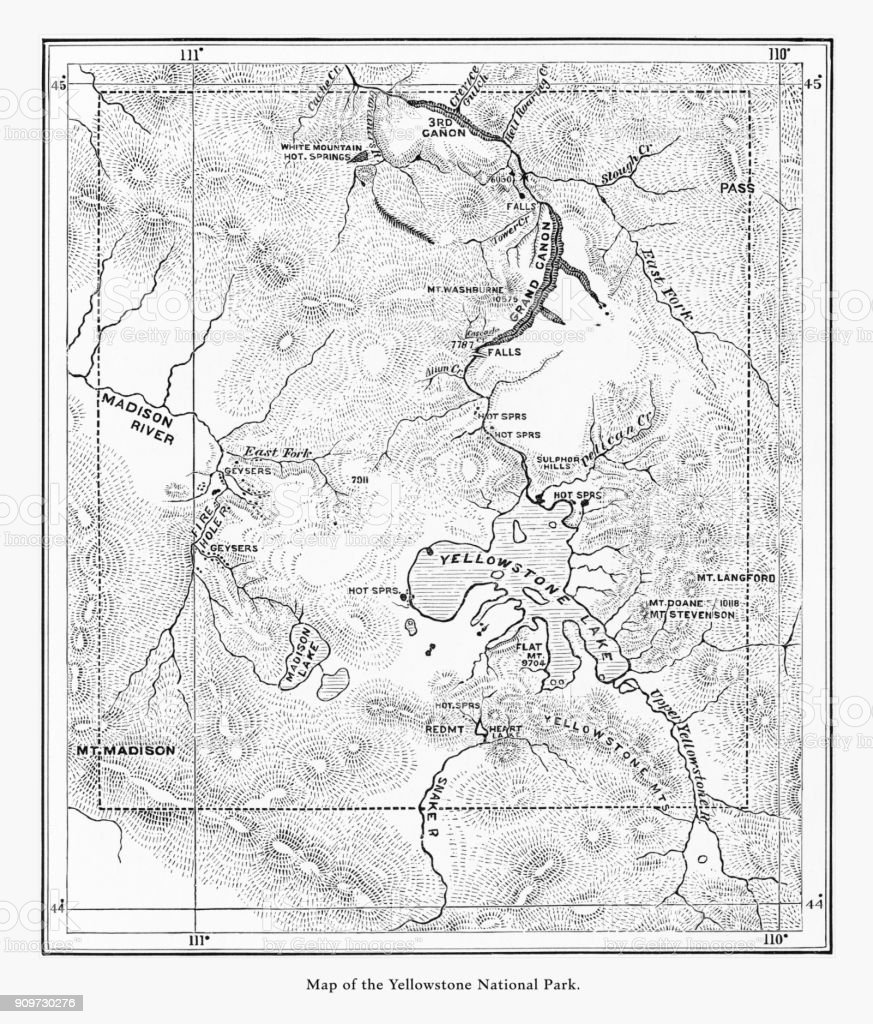 Early Antique Map Of Yellowstone National Park Wyoming Montana And - Yellowstone-us-map