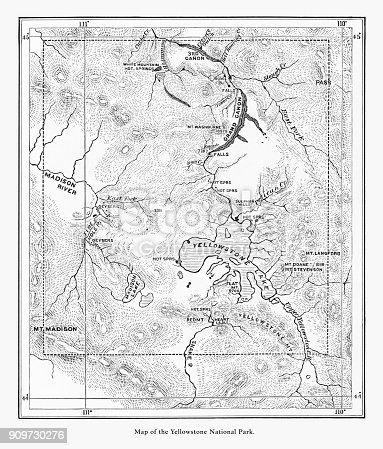 Very Rare, Beautifully Illustrated Antique Engraving of Early Antique Map of Yellowstone National Park, Wyoming, Montana, and Idaho, United States, American Victorian Engraving, 1872. Source: Original edition from my own archives. Copyright has expired on this artwork. Digitally restored.