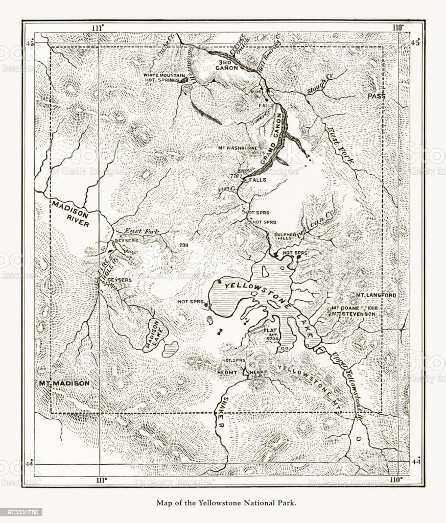 Early Antique Map Of Yellowstone National Park Wyoming Montana And ...