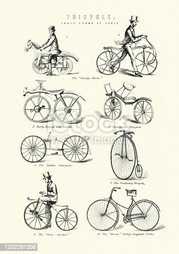 Vintage engraving of Early Cycles, Dandy-horse, crank bicycle, Gomertz's Velocipede, Dublin Velocipede, penny farthing, Bone shaker, Rover safty bicycle. 19th Century