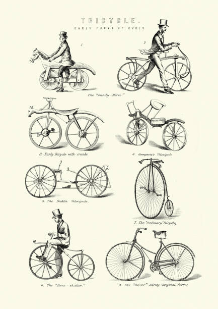 Early Cycles, Dandy-horse, crank bicycle, Velocipede, penny farthing vector art illustration