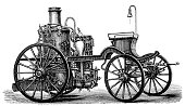 Vintage illustration of Early fire steam engine