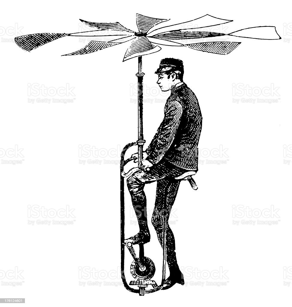 Early flying apparatus | Antique Scientific Illustrations royalty-free stock vector art