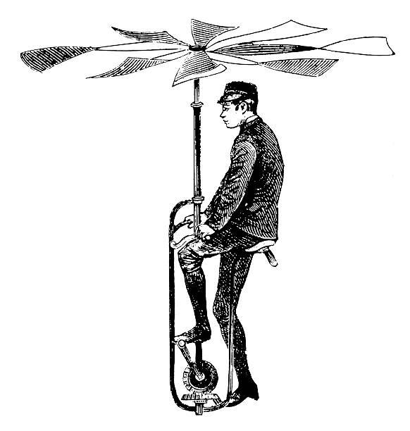 stockillustraties, clipart, cartoons en iconen met early flying apparatus | antique scientific illustrations - uitvinding