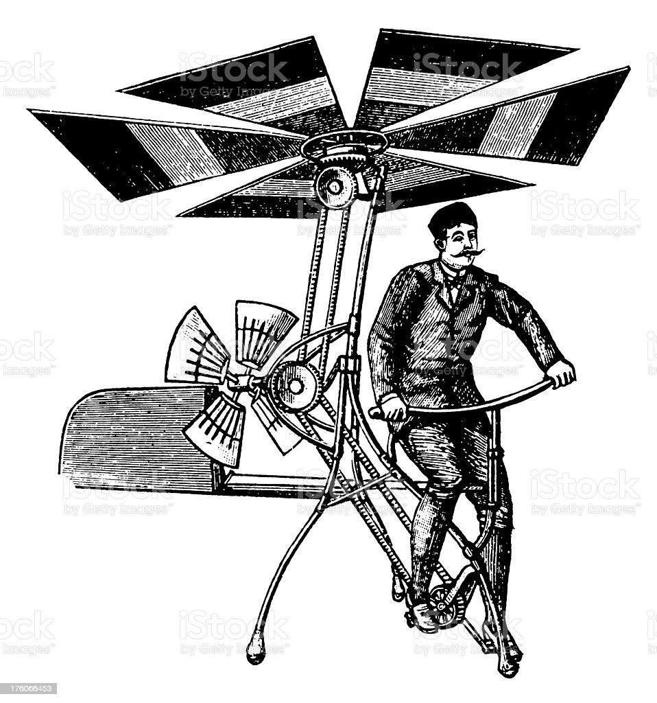 Early flying machine | Antique Scientific Illustrations vector art illustration