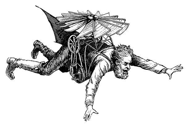 stockillustraties, clipart, cartoons en iconen met early flying machine | antique scientific illustrations - uitvinding