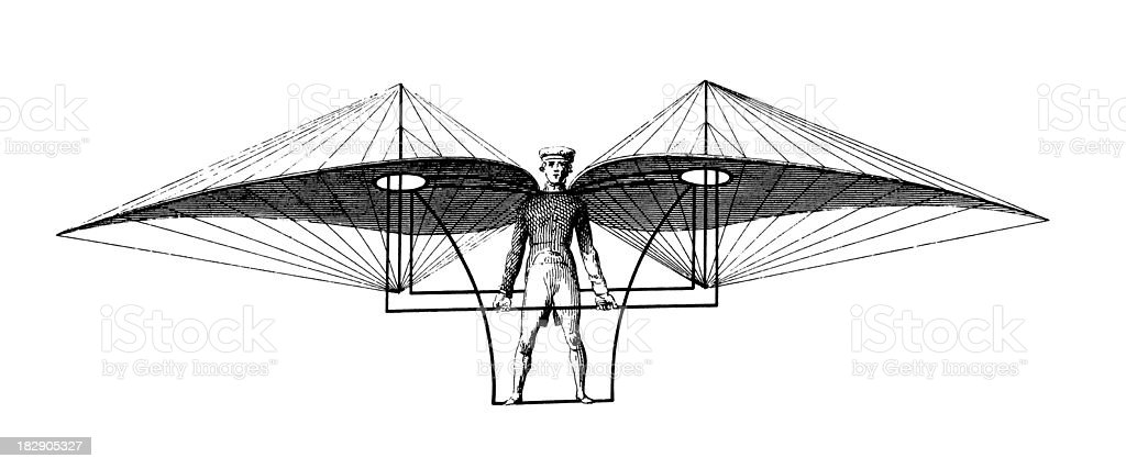 Early flying machine | Antique Scientific Illustrations royalty-free stock vector art