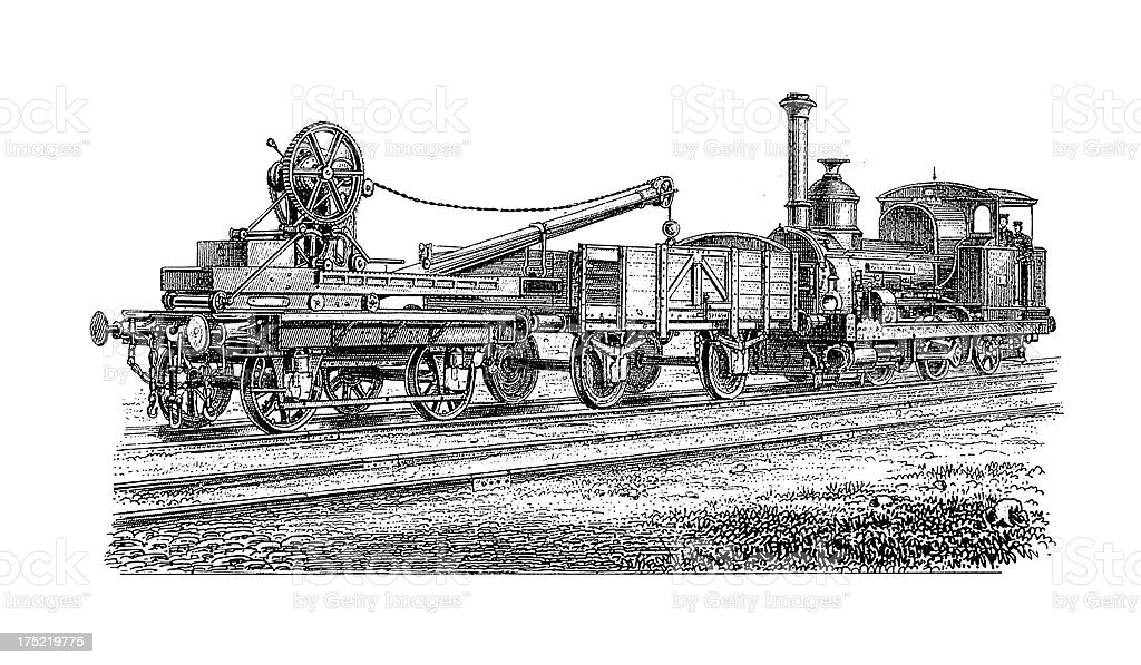 Early Freight Train Antique Transport Illustrations Stock