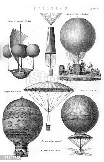 Vintage engravings of an early types of Hot Air Balloon.