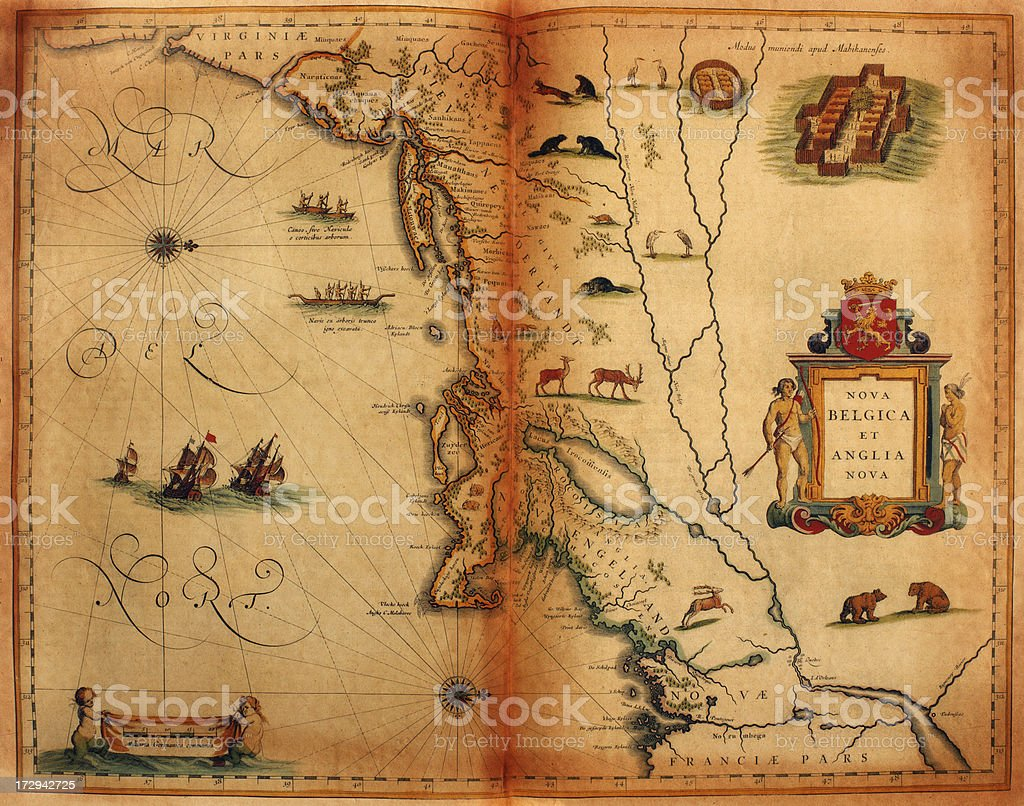 Early map of America 1635 royalty-free early map of america 1635 stock  vector art