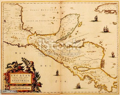 Antique map of Central AMerica covering nowadays Guatemala, Belize, Honduras and Costa RicJapa. Published by the Dutch cartographer Willem Blaeu in Atlas Novus (Amsterdam 1635). Photo by N. Staykov (2007)
