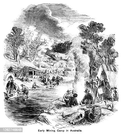 "Groups of miners and prospectors in a mining encampment in Australia. Some of them are panning for gold in the stream while others are relaxing after a hard day's work. A few wives and children - and dogs - share the camp. From ""The Cottager and Artisan: The People's Own Paper"" published in 1898 by The Religious Tract Society, London."
