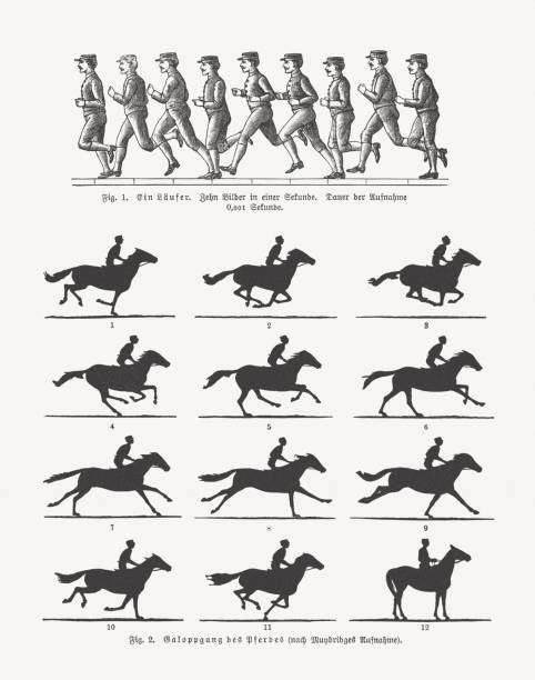 Early moving pictures - running man and rider, published 1897 vector art illustration