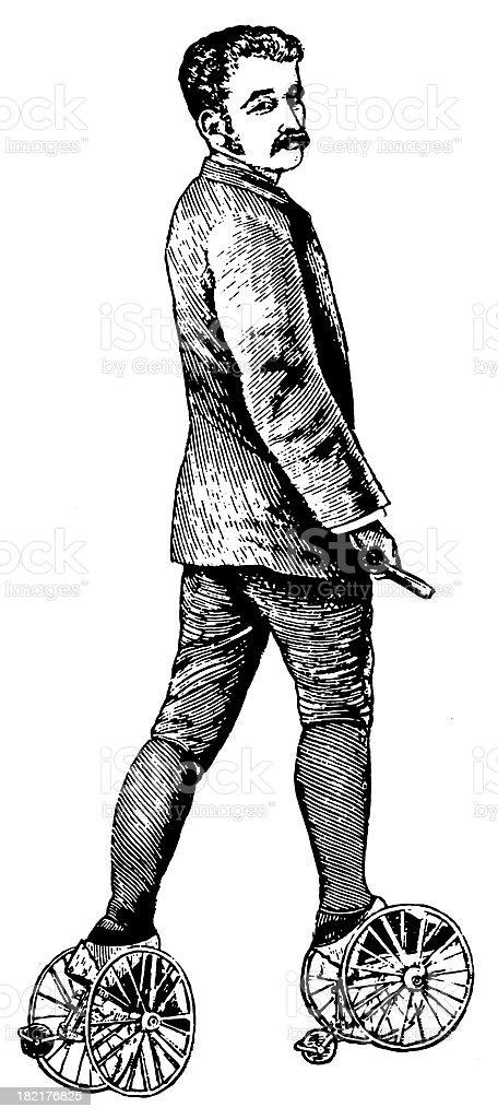 Early roller skates | Antique Design Illustrations vector art illustration