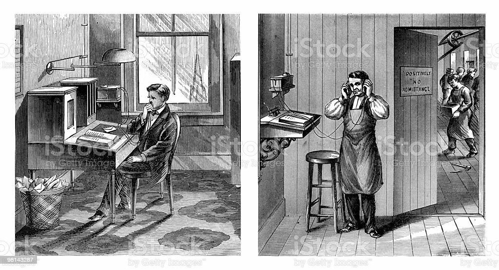 Early Use of the Telephone, circa 1879 royalty-free early use of the telephone circa 1879 stock vector art & more images of 19th century style