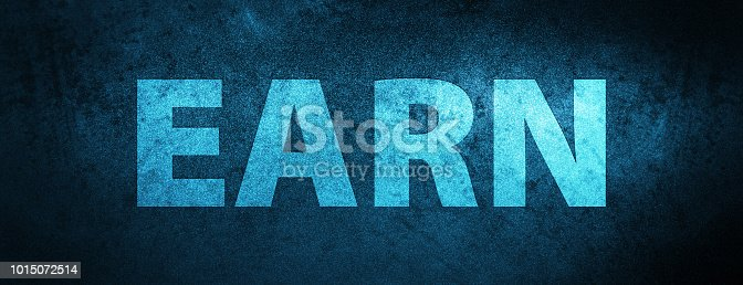 Earn isolated on special blue banner background abstract illustration