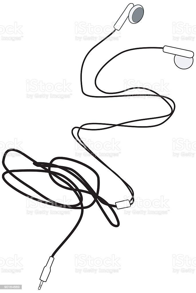Earphones for MP3 Player vector art illustration