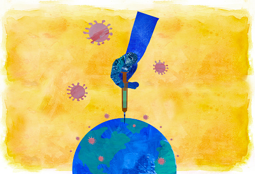 Earth and a syringe wirh COVID-19 vaccine