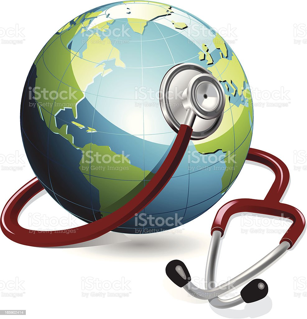 Earth and Stethoscope royalty-free stock vector art