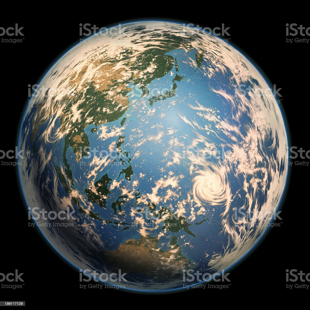 Earth by the side of Asia-Pacific. vector art illustration