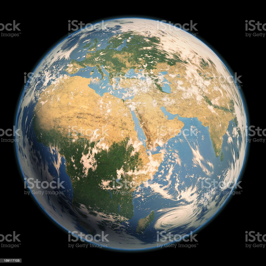 Earth by the side of Europe and more. vector art illustration