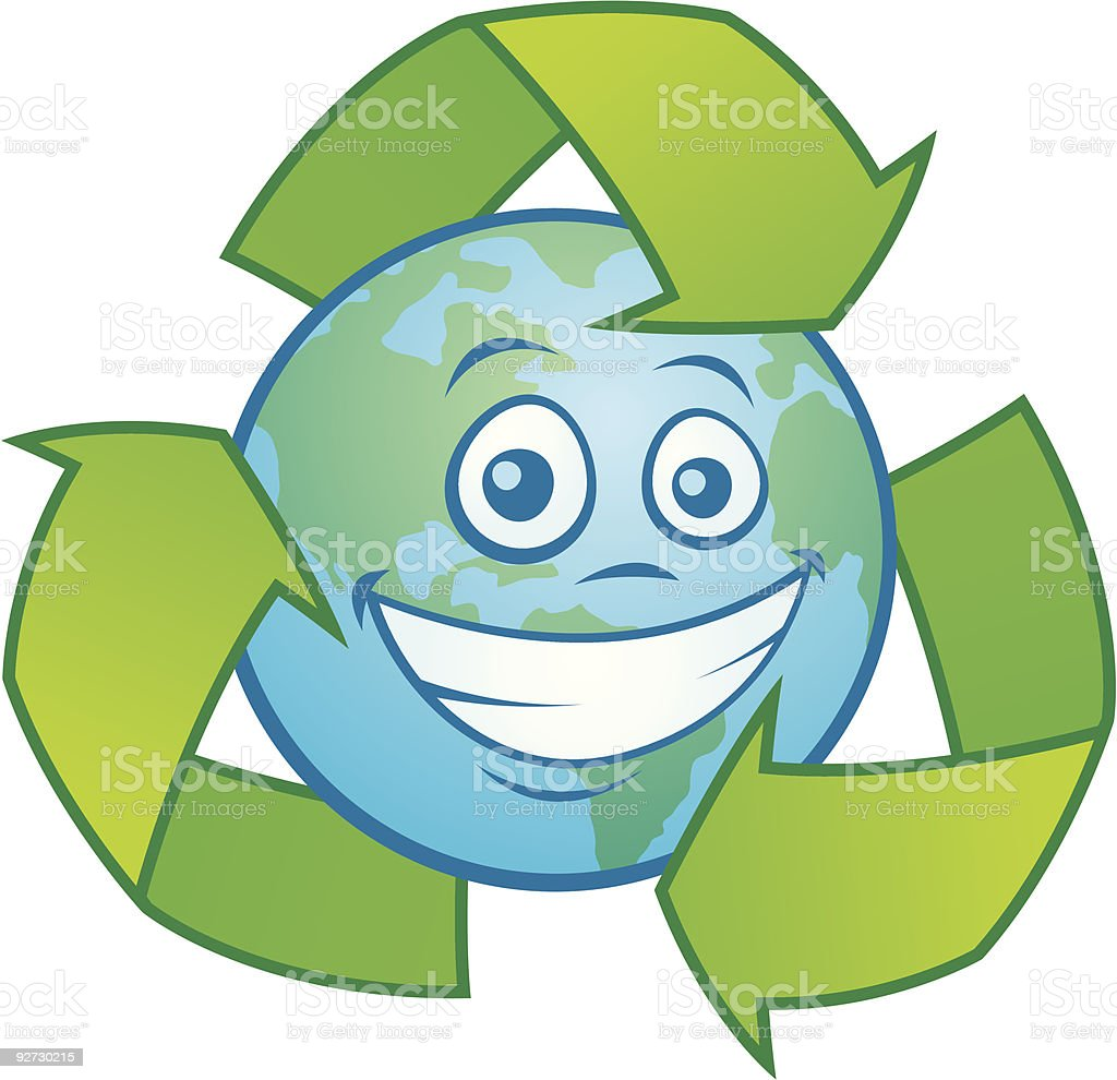 Earth Cartoon with Recycle Symbol vector art illustration