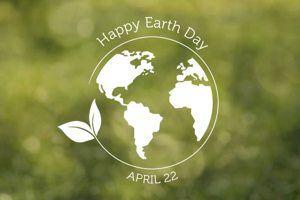 Earth Day baclground - Earth globe grass on green A white Earth globe and circle with leaf and text on green defocused background.  NOTE: The Earth and leaf are hand drawn in vector graphics and imported as a layer in Photoshop. earth day stock illustrations