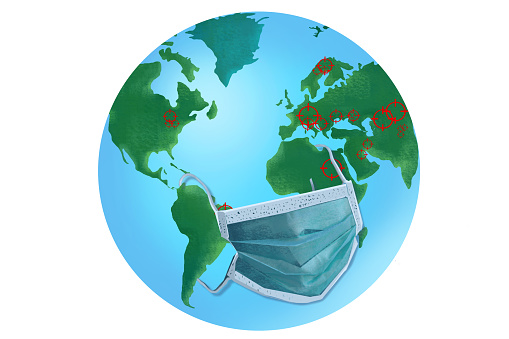 Earth globe in a protective face mask