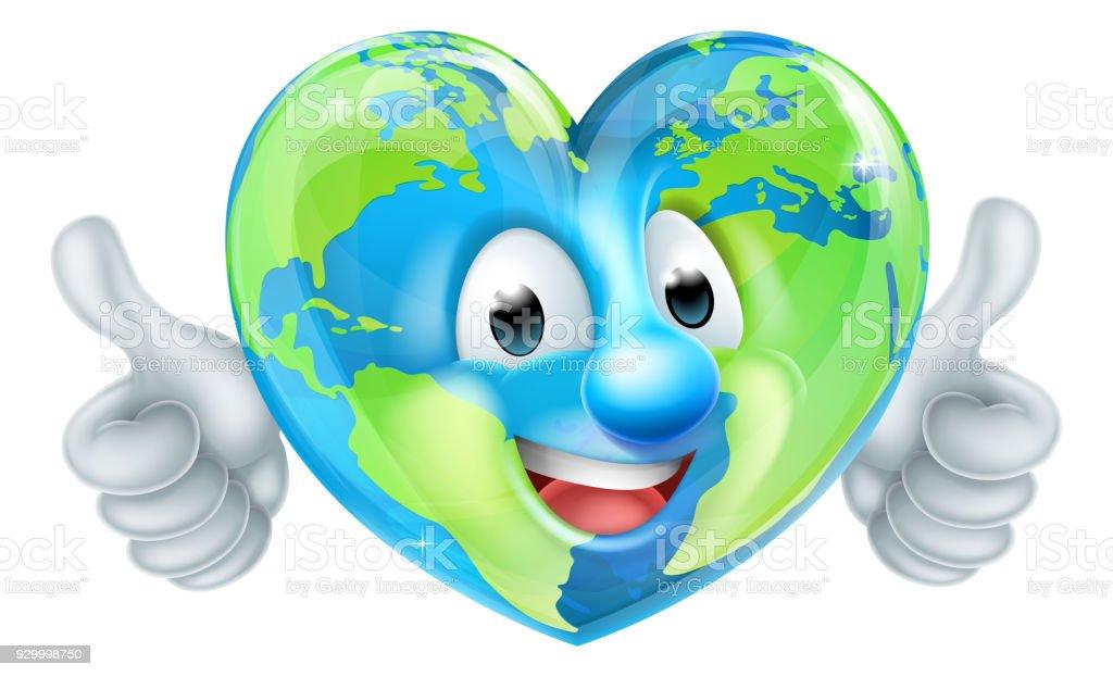 Earth Heart Globe Cartoon Character vector art illustration