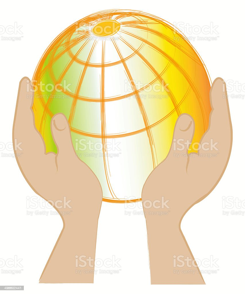 Earth in hands royalty-free stock vector art