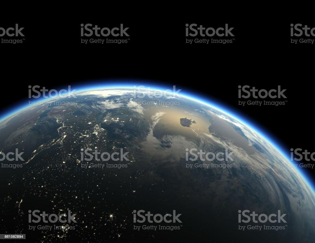 Earth on black background vector art illustration